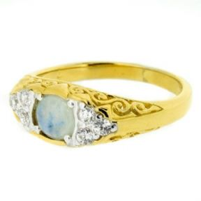 Vintage Gold Plated Dress Ring Moonstone 9902